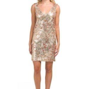 Carla Conti Floral Sequin Sleeveless Shift Dress